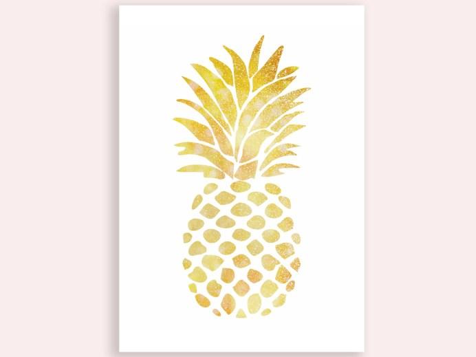 Gold Pineapple Printable mockup