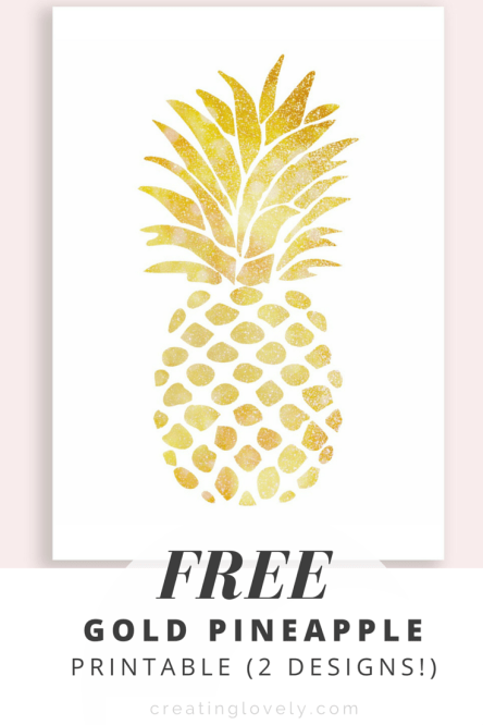 Free Gold Pineapple Printable