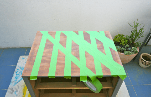 taped design on table