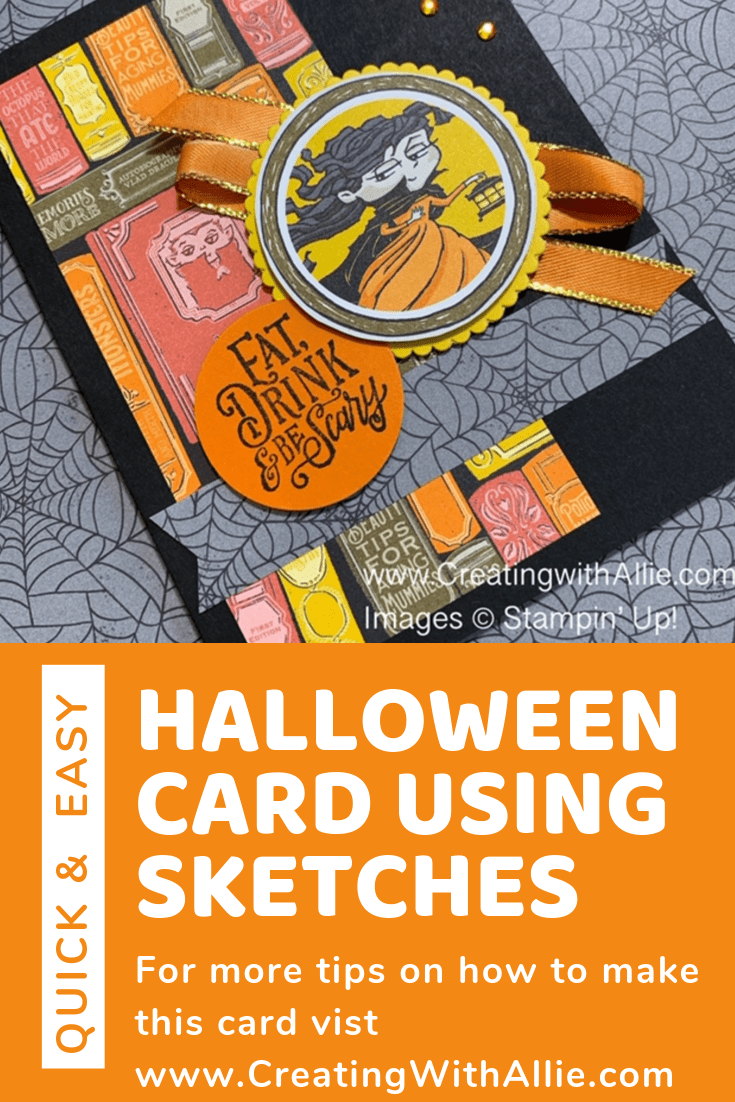 Learn how to make a quick and easy Halloweeen card using sketches