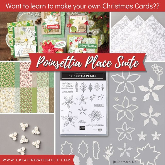 Check the products from the Poinsettia Place Suite!! you can make the cutest cards with this suite! and get ready with your Christmas cards in no time