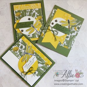 Three Thank You Handmade Cards using the Dandy Garden Suite