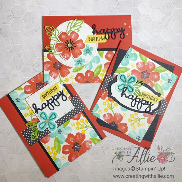 Learn to make your own patterned paper with stamps to make these cute Birthday cards