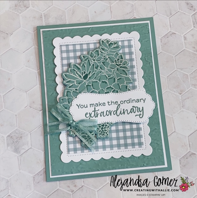 Showcasing an easy card using the brand new Soft Succulent in color using the Simply Succulents Bundle from Stampin' Up!