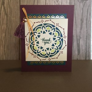 Eastern Palace Vertical Thank You Card in Fresh Fig