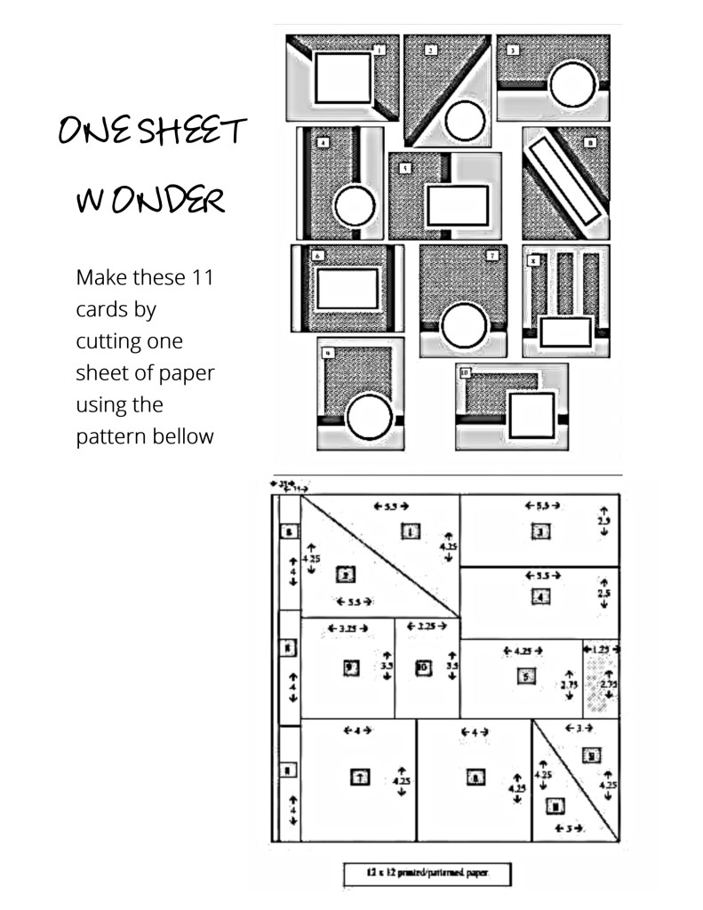 One Sheet Wonder Pattern for 11 Cards