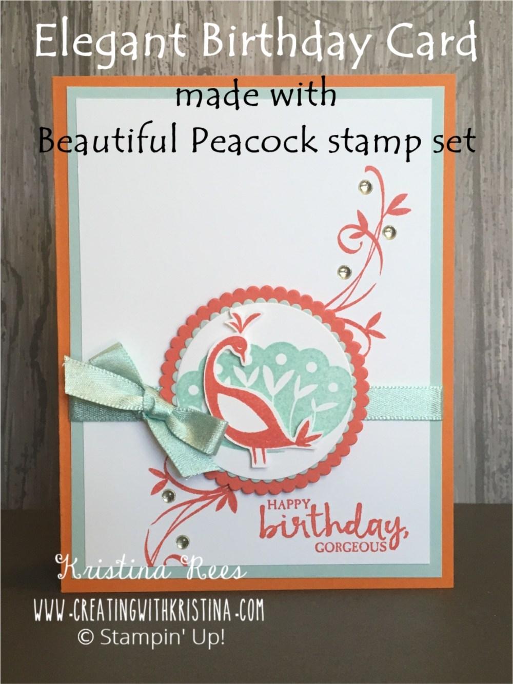 Beautiful Peacock Elegant Birthday Card www.creatingwithkristina.com Title