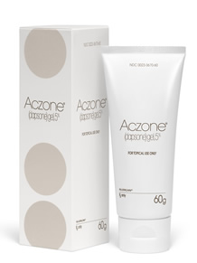 Aczone tube and box dapsone gel 5% prescription acne treatment.