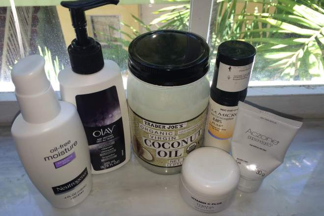 Neutrogena oil-free moisture sensitive skin, olay age-defying cream cleanser, trader joes organic virgin coconut oil, retin-a micro, train miami vitamin c, aczone dapsone gel skincare products.