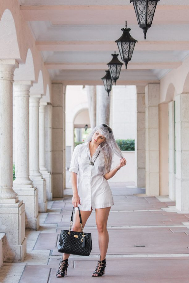 Styling a Shirtdress | Tarbay Lace-Up Heels