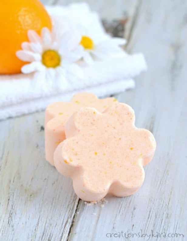Recipe for DIY Orange Bath Bombs - save money by making your own bath bombs at home