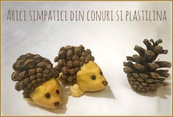 arici simpatici din conuri de brad si plastilina -prezentare (550 x 370)