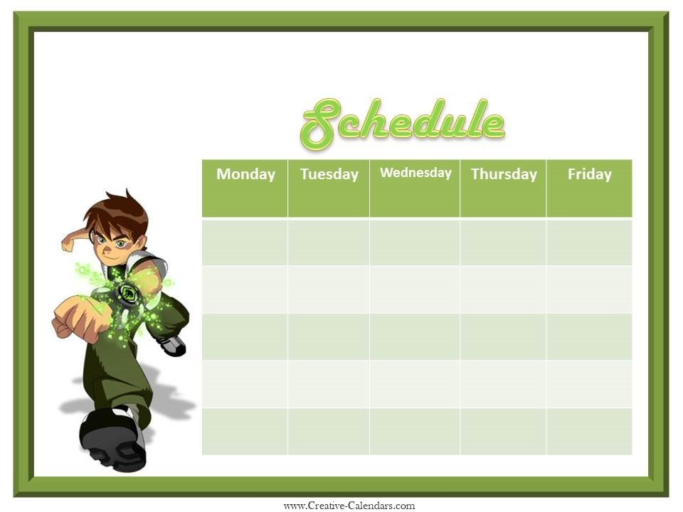 Weekly Planner For Boys