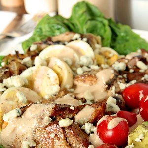 Barbecue Chicken Cobb Salad with Chipotle Buttermilk Dressing