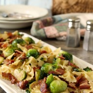 Bacon and Brussels Sprouts with Bowtie Pasta