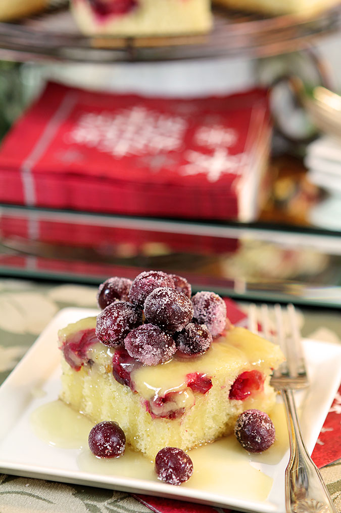 Cranberry Cake Butter Rum Sauce