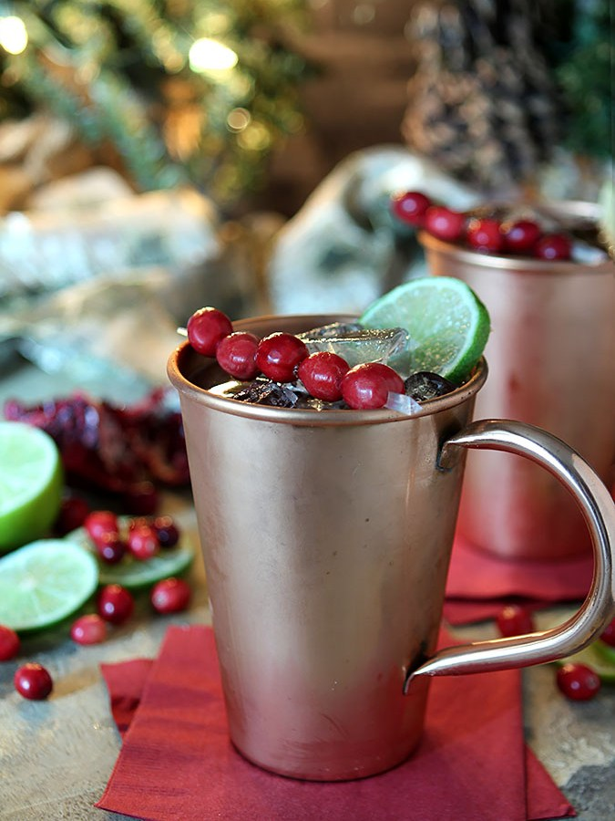 Cranberry Pomegranate Moscow Mule Cocktail