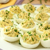 Deviled Eggs with Lemon Zest, Capers and Chives