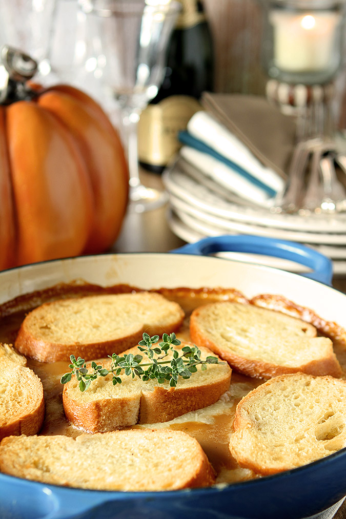 Golden Onion Casserole with Thyme and Toasted Bread Rounds