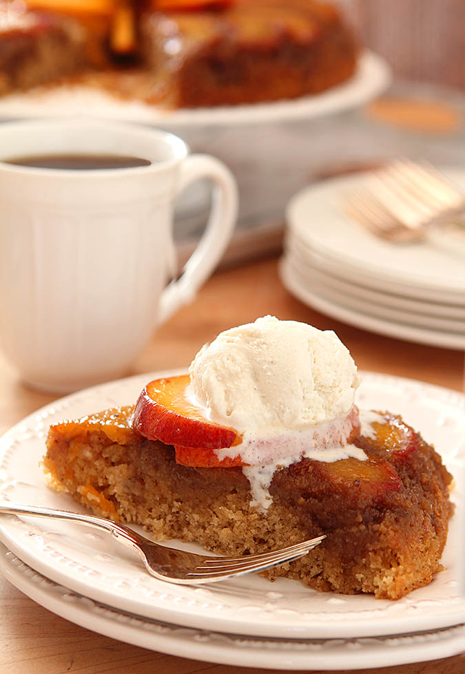Peach and Bourbon Upside Down Cake | @creativculinary