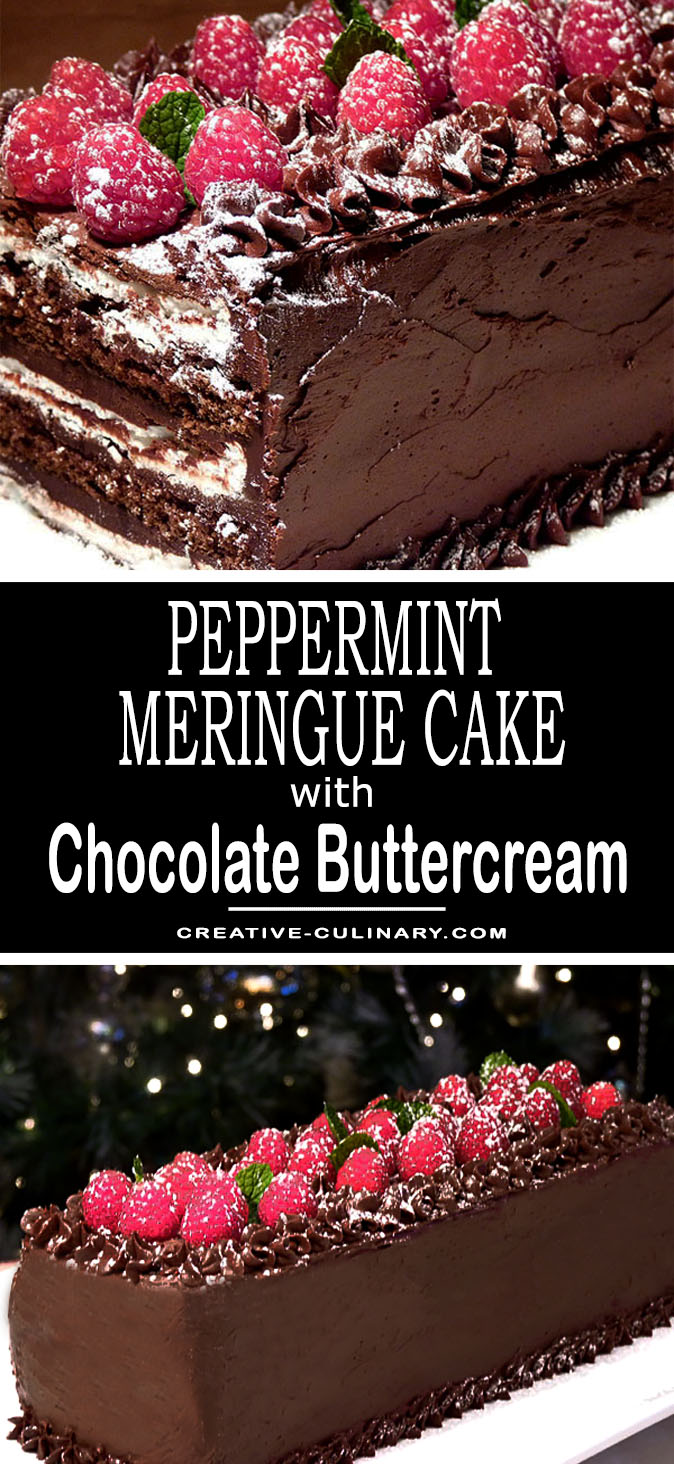 For a spectacular dessert, you much try this Peppermint Meringue Cake with Chocolate Buttercream Frosting. It's not just beautiful; the crunchy peppermint meringue layers combined with the chocolate cake are simply perfect.