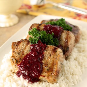 Grilled Pork Chops with Blackberry Serrano Sauce