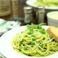 Spaghetti with Pea and Pine Nut Pesto