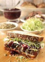 Turkey and Cranberry Sandwich with Sprouts and Sunflower Seeds