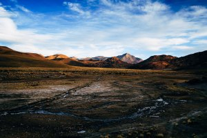 Color landscape taken at sunset in the Andes mountains in Bolivia, South America
