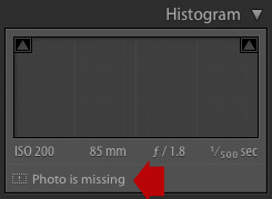 Lightroom Develop module showing Photo is missing icon under histogram