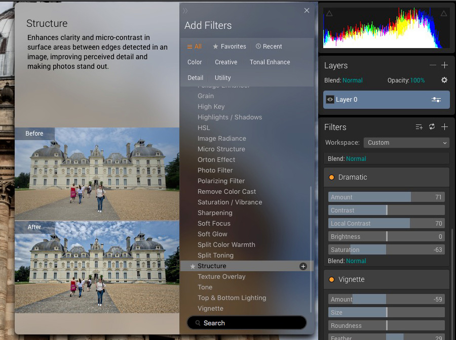 Filters in Luminar user interface