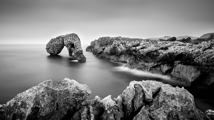 Black and white landscape photo taken in Asturias, Spain.