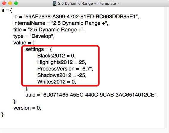 Lightroom Develop Preset viewed in text editor