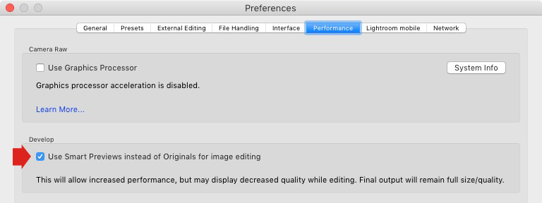 Lightroom Preferences window