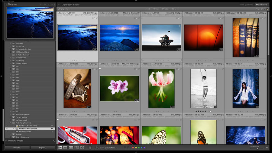 Collection of photos viewed in Lightroom