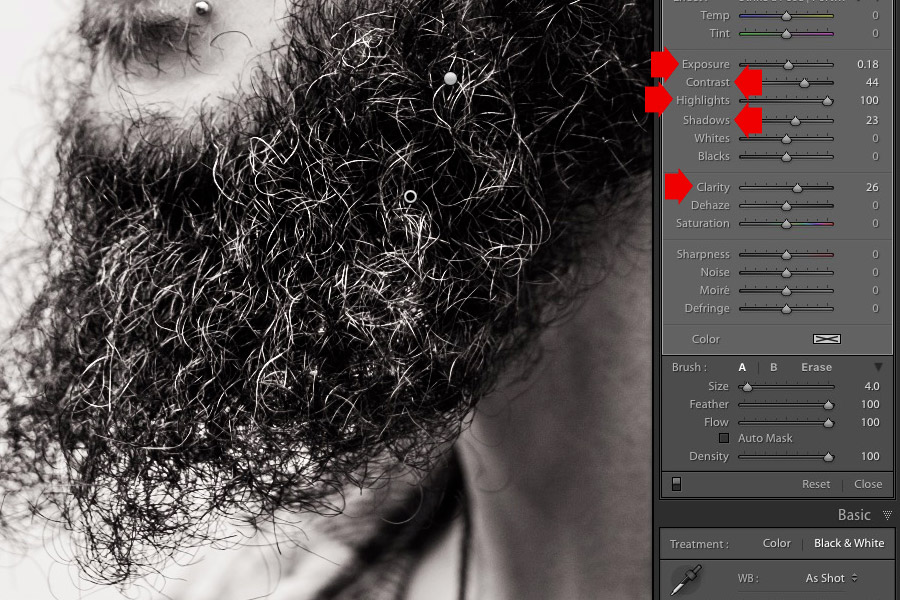 Portrait retouching in Lightroom with Sleeklens Adjustment Brush presets
