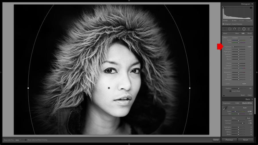 Using the Radial Filter in Lightroom to make the background of a portrait darker