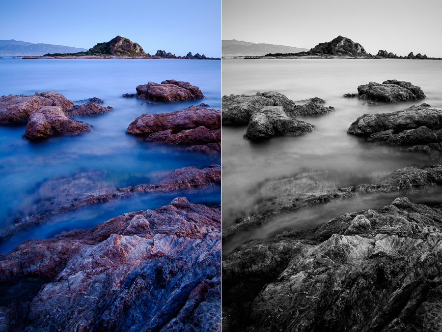 Color and black and white landscape photos
