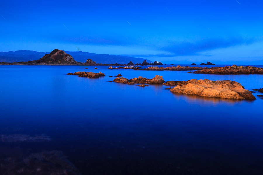 Painting with light in blue hour