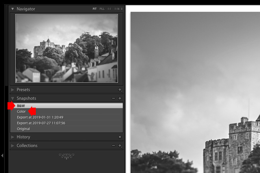 Snapshots in Lightroom