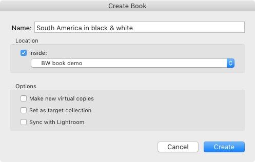 Create Book window