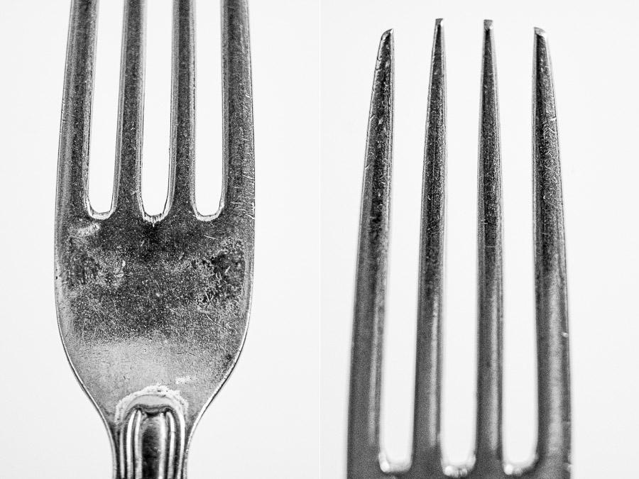 Close-up photos of metal fork