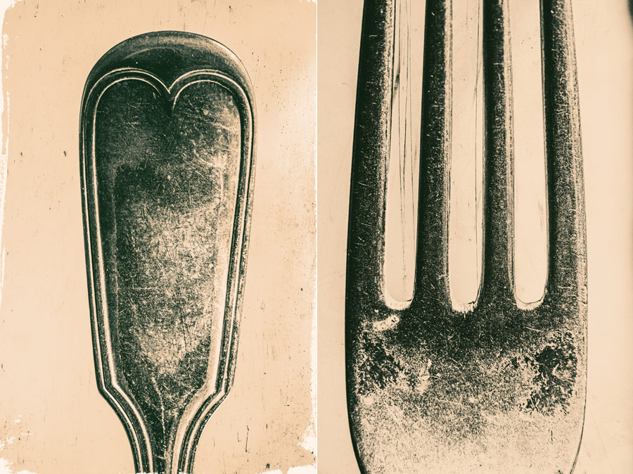 Close-up photos of metal cutlery