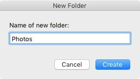 New Folder window Lightroom Classic