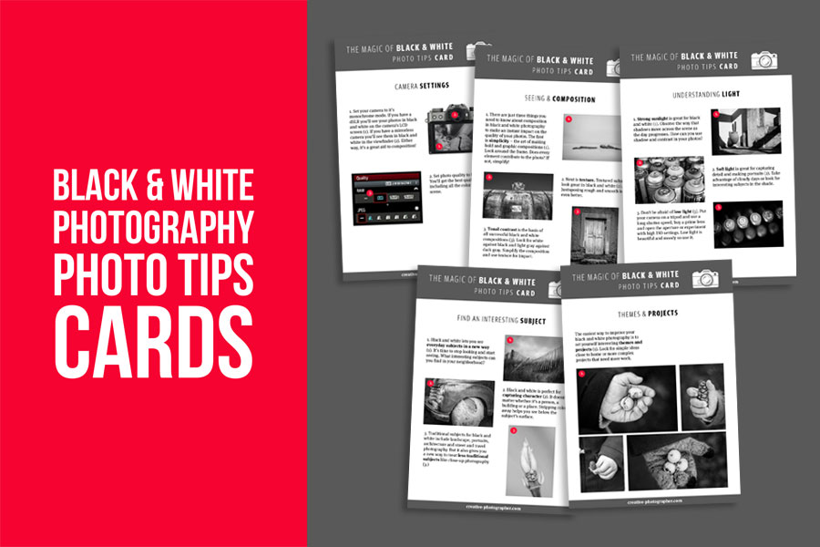 Black & white photography photo tips cards