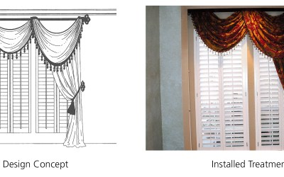 Asymmetric Swags Draped Over Wrought Iron Pole