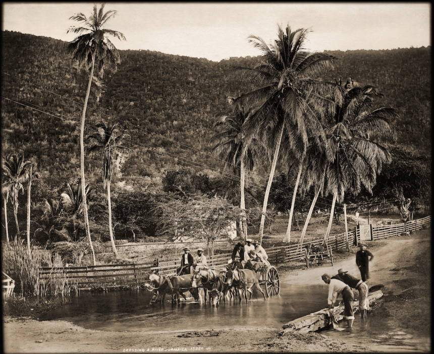Crossing a River, Jamaica. James Valentine & Sons, 1891. Courtesy Caribbean Photo Archive / Autograph ABP