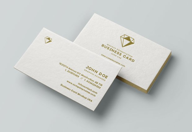Business Card MockUp with Textured Paper and Clear Embossing