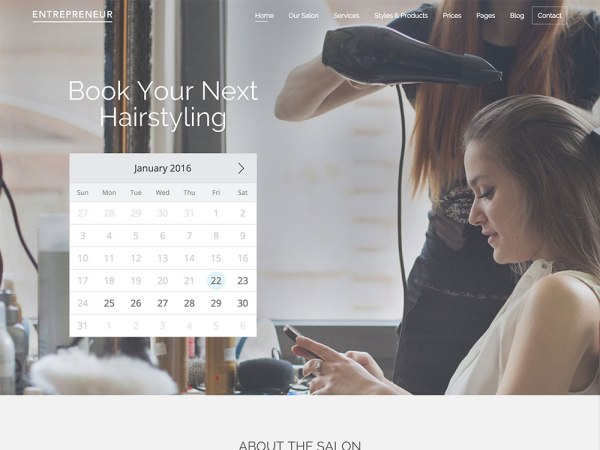 Entrepreneur - Booking Theme Stylist Template