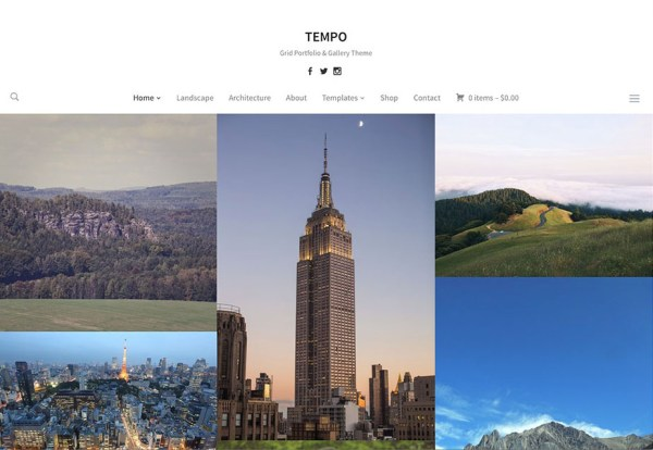 Tempo photography gallery wordpress theme